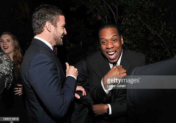 Actor Justin Timberlake and rapper JayZ attend GQ's 2011 Men of the Year Party held at Chateau Marmont on November 17 2011 in Los Angeles California