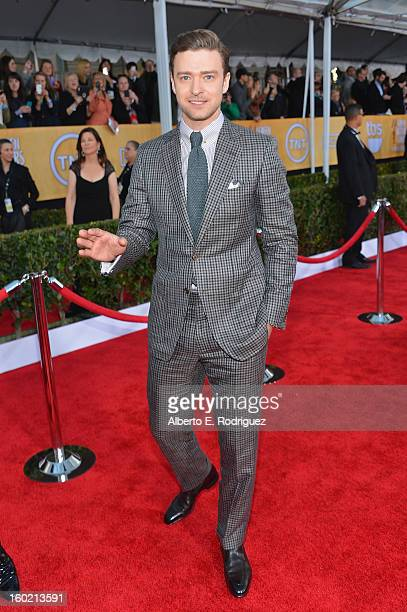 Actor Justin Timberlake arrives at the 19th Annual Screen Actors Guild Awards held at The Shrine Auditorium on January 27 2013 in Los Angeles...
