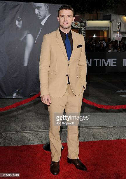 Actor Justin Timberlake arrives at the Los Angeles Premiere In Time at Regency Village Theatre on October 20 2011 in Westwood California