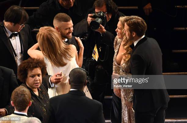 Actor Justin Timberlake, Chief Executive Officer of the Academy of Motion Picture Arts and Sciences Dawn Hudson, actor Ryan Gosling and Mandi Gosling...
