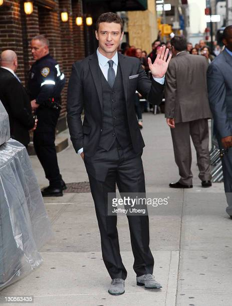 Actor Justin Timberlake departs Late Show With David Letterman at the Ed Sullivan Theater on October 26 2011 in New York City