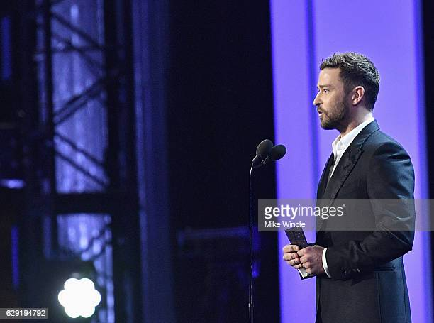 Actor Justin Timberlake speaks onstage during The 22nd Annual Critics' Choice Awards at Barker Hangar on December 11 2016 in Santa Monica California