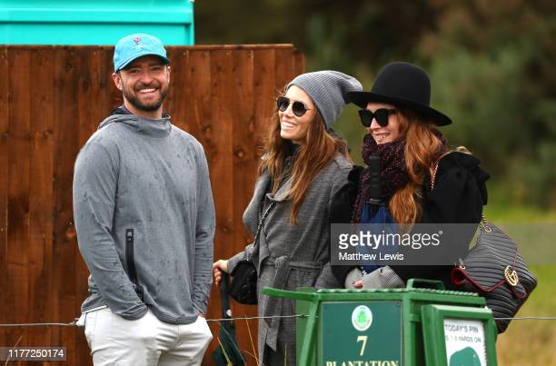 Actor Justin Timberlake speaks with Jessica Biel during Day one of the Alfred Dunhill Links Championship at Carnoustie Golf Links on September 26...