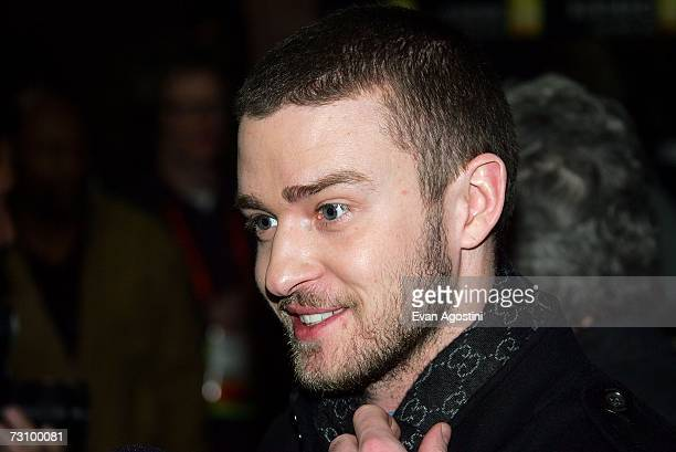 Actor Justin Timberlake talks to the media during arrivals for the Black Snake Moan premiere at the Eccles Theater during the 2007 Sundance Film...