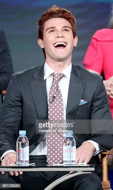 Actor K J Apa of the 'Riverdale' television show speaks during the CW portion of the 2017 Winter Television Critics Association Press Tour at the...