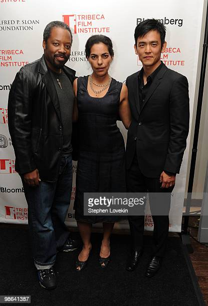 Actor Kadeem Hardison actress Sarita Choudhury and actor John Cho attends the TFI Awards Ceremony during the 2010 Tribeca Film Festival at The Union...