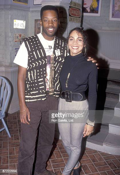 Actor Kadeem Hardison and actress Jasmine Guy pose for photographs on the set of A Different World on February 24 1992 at CBS/MTM Studios in Studio...