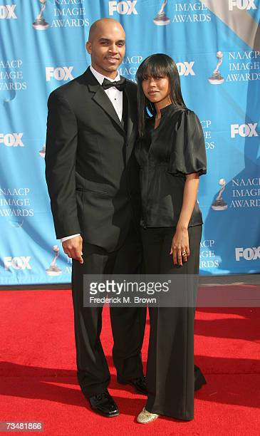 Actor Kadir Nelson and guest arrives at the 38th annual NAACP Image Awards held at the Shrine Auditorium on March 2 2007 in Los Angeles California