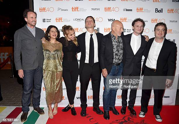 Actor Kai Lennox actresses Alia Shawkat and Imogen Poots writer/director Jeremy Saulnier and actors Patrick Stewart and Anton Yelchin and...