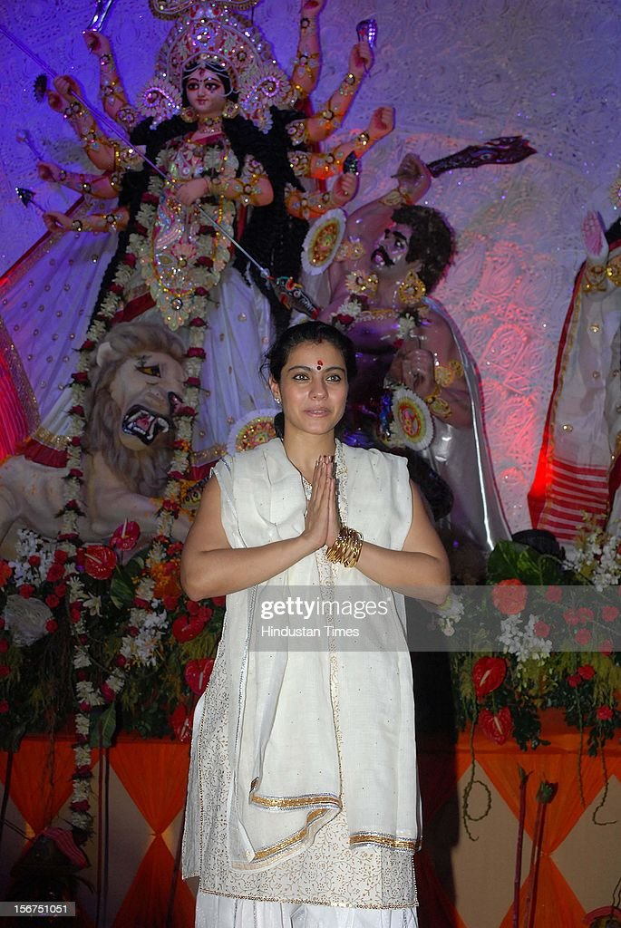 `MUMBAI INDIA OCTOBER 20 Actor Kajol at Durga Puja Tulip Star Juhu on October 20 2012 in Mumbai India `