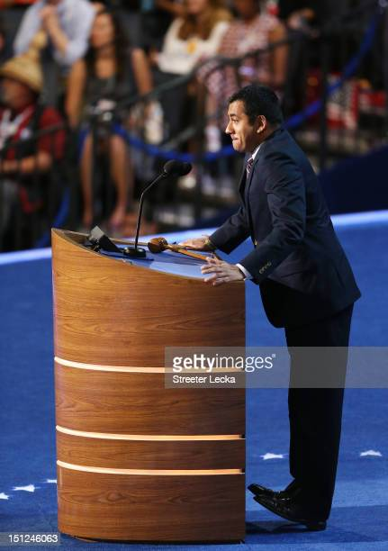 Actor Kal Penn speaks during day one of the Democratic National Convention at Time Warner Cable Arena on September 4, 2012 in Charlotte, North...