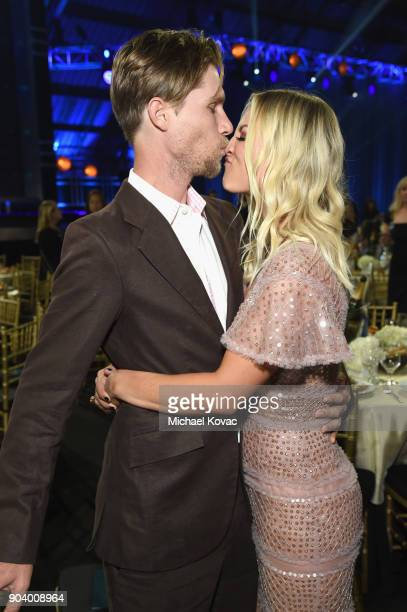 Actor Kaley Cuoco and Karl Cook attend Moet Chandon celebrate The 23rd Annual Critics' Choice Awards at Barker Hangar on January 11 2018 in Santa...