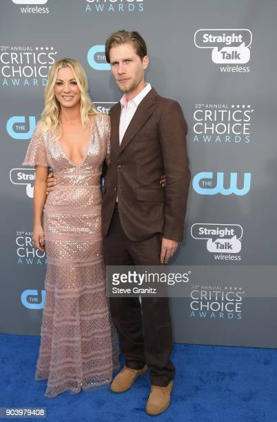 Actor Kaley Cuoco and Karl Cook attend The 23rd Annual Critics' Choice Awards at Barker Hangar on January 11 2018 in Santa Monica California