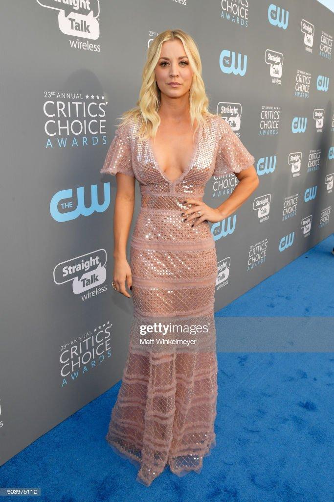Actor Kaley Cuoco attends The 23rd Annual Critics' Choice Awards at Barker Hangar on January 11, 2018 in Santa Monica, California.
