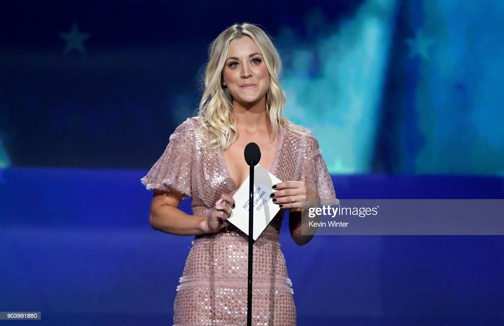 Actor Kaley Cuoco speaks onstage during The 23rd Annual Critics' Choice Awards at Barker Hangar on January 11, 2018 in Santa Monica, California.