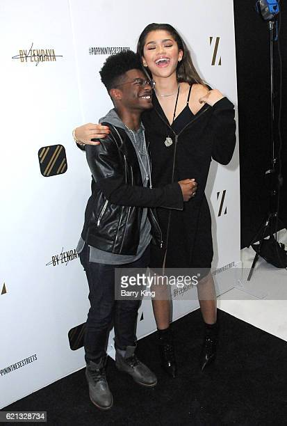Actor Kamil McFadden and singer/actress Zendaya attend the Daya by Zendaya Popup Shop at Known Gallery on November 5 2016 in Los Angeles California