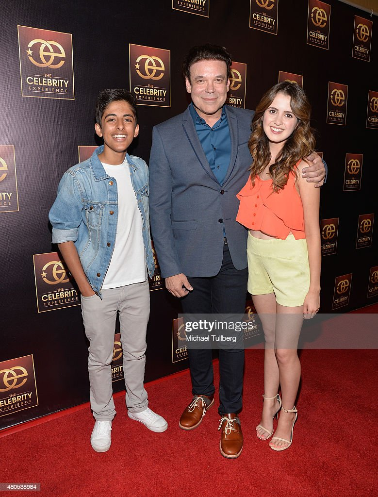 Actor Karan Brar, producer George caceres and actress Laura Marano attend The Celebrity Experience Pane at Hilton Universal City on July 12, 2015 in Universal City, California.