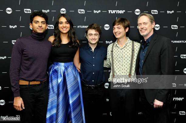 Actor Karan Soni Actor Geraldine Viswanathan Actor Daniel Radcliffe Executive producer Simon Rich and Actor Steve Buscemi of 'Miracle Workers' poses...