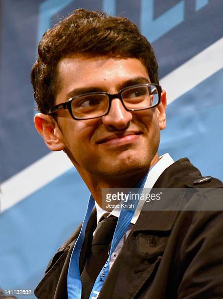 Actor Karan Soni speaks onstage at Safety Not Guaranteed QA during the 2012 SXSW Music Film Interactive Festival at Paramount Theatre on March 10...