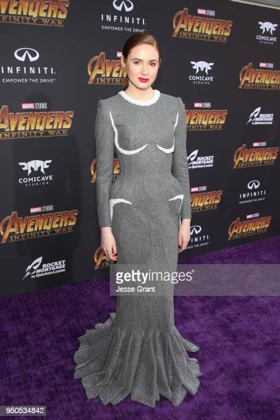 Actor Karen Gillan attends the Los Angeles Global Premiere for Marvel Studios' Avengers Infinity War on April 23 2018 in Hollywood California