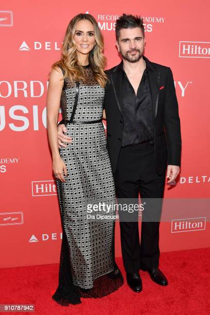 Actor Karen Martinez and recording artist Juanes attend MusiCares Person of the Year honoring Fleetwood Mac at Radio City Music Hall on January 26...