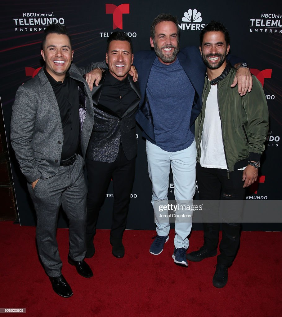 Actor Karim Mendiburu, television personality Jorge Bernal, actor Carlos Ponce and actor Ignacio Serricchio attend the 2018 Telemundo Upfront at the Park Avenue Armory on May 14, 2018 in New York City.