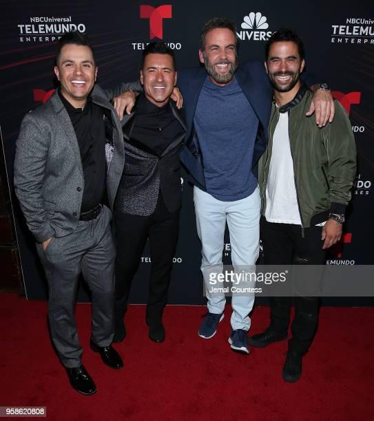 Actor Karim Mendiburu television personality Jorge Bernal actor Carlos Ponce and actor Ignacio Serricchio attend the 2018 Telemundo Upfront at the...