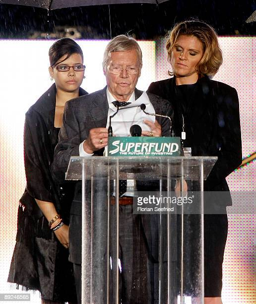 Actor Karl Heinz Boehm and daughter Aida attend the Save The World Awards at the nuclear power station Zwentendorf on July 24 2009 in Zwentendorf...