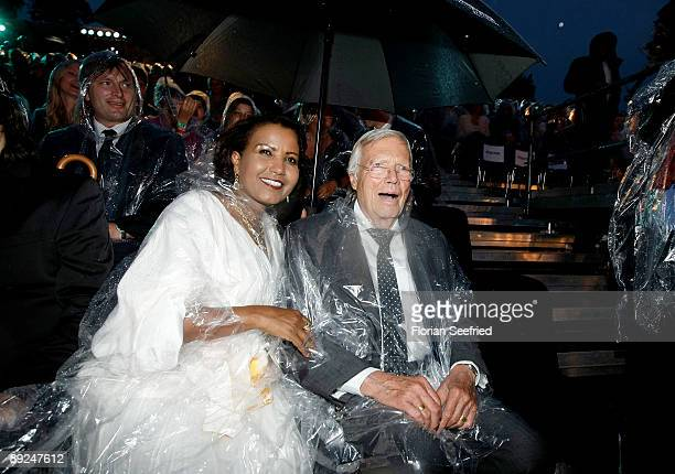 Actor Karl Heinz Boehm and wife Almaz attend the Save The World Awards at the nuclear power station Zwentendorf on July 24, 2009 in Zwentendorf...