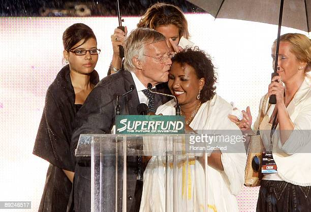 Actor Karl Heinz Boehm his wife Almaz and daughter Aida attend the Save The World Awards at the nuclear power station Zwentendorf on July 24 2009 in...