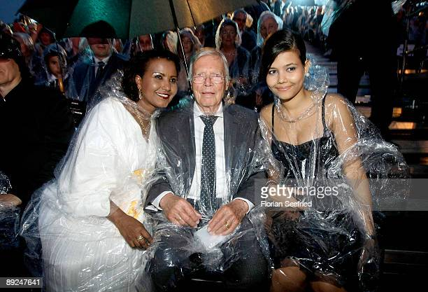 Actor Karl Heinz Boehm wife Almaz and daughter Aida attend the Save The World Awards at the nuclear power station Zwentendorf on July 24 2009 in...