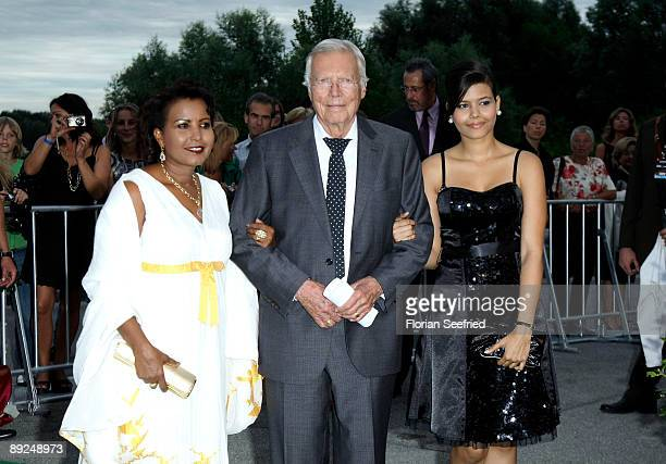 Actor Karl Heinz Boehm wife Almaz and daughter Aida attend the 'Save The World Awards' at the nuclear power station Zwentendorf on July 24 2009 in...