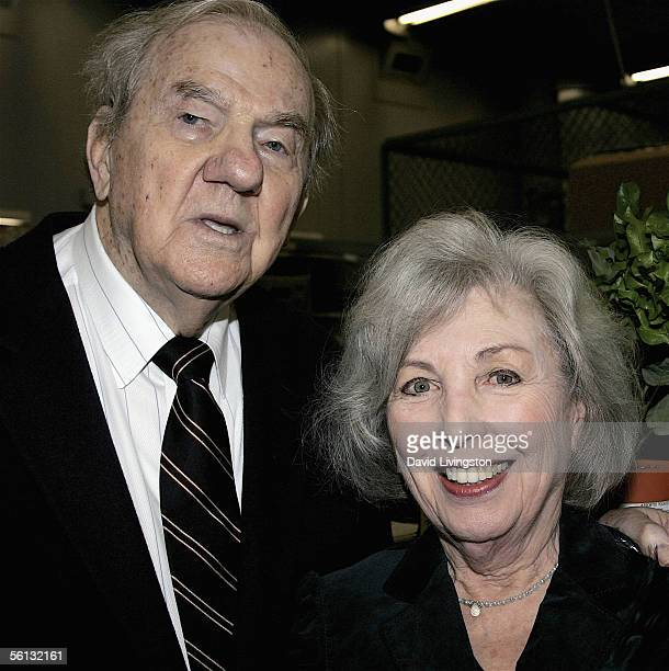Actor Karl Malden poses with his wife Mona at the dedication of the Barrington Station Post Office to legendary Oscar winning actor Karl Malden on...