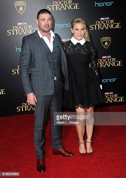 Actor Karl Urban and actress Katee Sackhoff arrive for the Premiere Of Disney And Marvel Studios' Doctor Strange held at the El Capitan Theatre on...