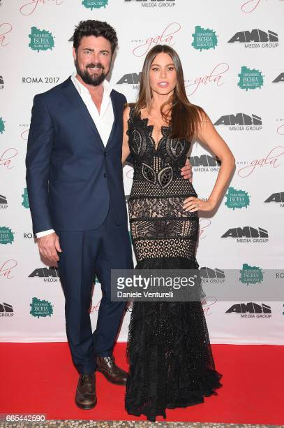 Actor Karl Urban and Sofia Vergara attend AMBI GALA In Honour Of at Hotel Exedra on April 6 2017 in Rome Italy