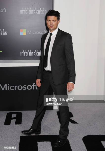 Actor Karl Urban arrives at the Los Angeles premiere of 'Star Trek Into Darkness' at Dolby Theatre on May 14 2013 in Hollywood California