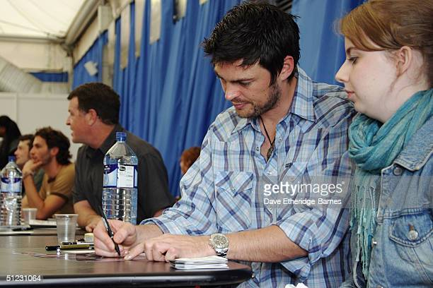Actor Karl Urban is seen signing autographs at The Fellowship Festival 2004 aimed at J R R Tolkien fans at Alexandra Palace on August 28 2004 in...