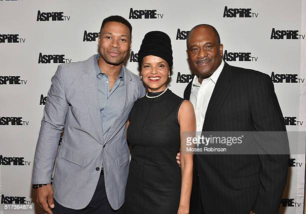 Actor Karon Riley Actress Victoria Rowell and Actor Gregory Alan Williams attend the Premiere Screening Of The Aspire Original Magic In The Making at...