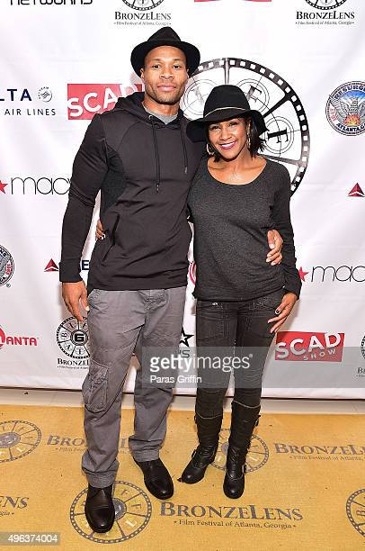 Actor Karon Riley and actress Terri Vaughn attend BronzeLens Film Festival at 444 Theatre on November 8 2015 in Atlanta Georgia