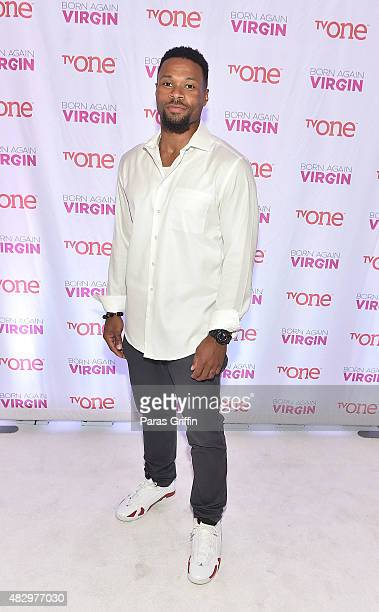 Actor Karon Riley attends Born Again Virgin Atlanta Premiere at American Spirit Works on August 4 2015 in Atlanta Georgia