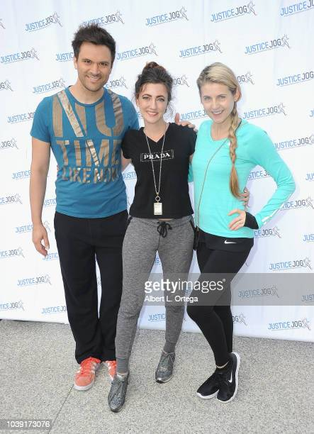 Actor Kash Hovey actress Amber Martinez and actress/director Kathy Kolla attend the 11th Annual Justice Jog To Benefit Casa LA held on September 23...