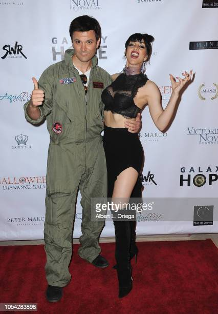 Actor Kash Hovey and singer Rachele Royale attend Casazul Tequila Presents The Haunted House Of Bel Air held at a Private Residence on October 26...