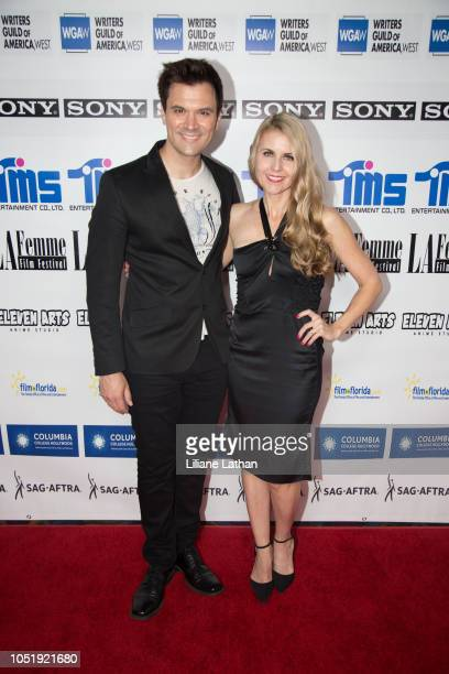 Actor Kash Hovey and Writer/Director/Actor Kathy Kolla attend the 2018 LA Femme International Film Festival Plastic Daydream Premiere at Regal...