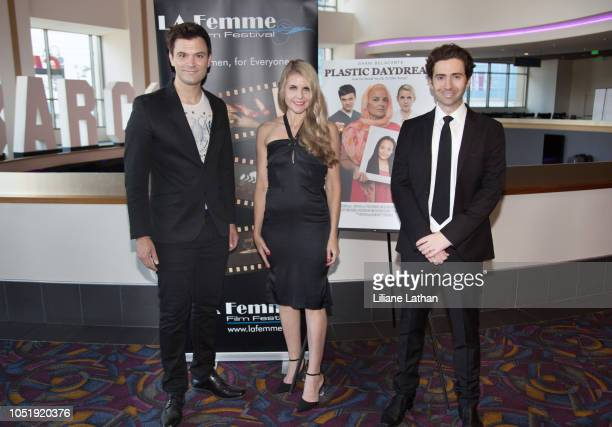 Actor Kash Hovey Writer/Director/Actor Kathy Kolla and Writer/Producer/Actor Drew Milford attend the 2018 LA Femme International Film Festival...