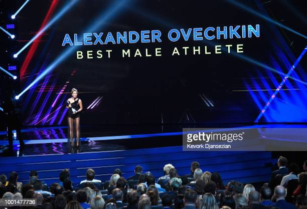 Actor Kate Beckinsale accepts the Best Male Athlete award on behalf of NHL player Alexander Ovechkin onstage at The 2018 ESPYS at Microsoft Theater...