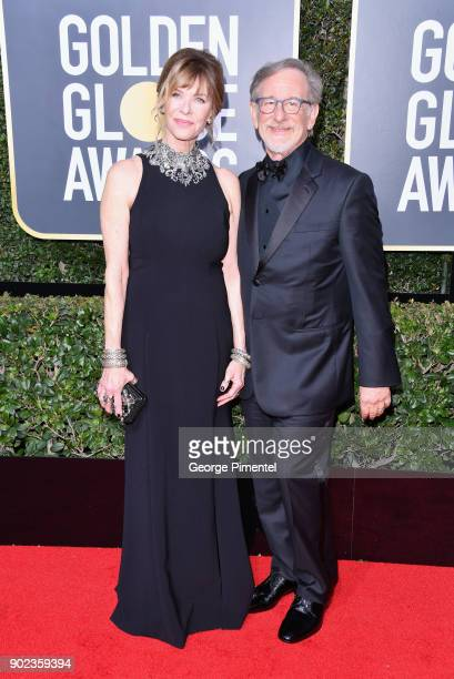 Actor Kate Capshaw and producer/director Steven Spielberg attend The 75th Annual Golden Globe Awards at The Beverly Hilton Hotel on January 7 2018 in...
