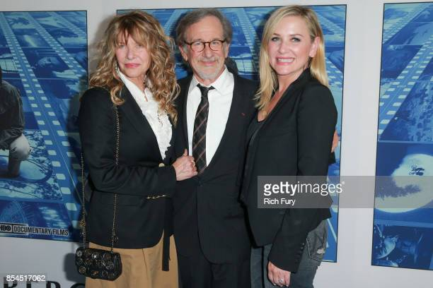 Actor Kate Capshaw director Steven Spielberg and actor Jessica Capshaw attend the premiere of HBO's 'Spielberg' at Paramount Studios on September 26...