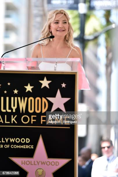 Actor Kate Hudson speaks onstage as Kurt Russell and Goldie Hawn are honored with a double star ceremony on the Hollywood Walk of Fame on May 4 2017...