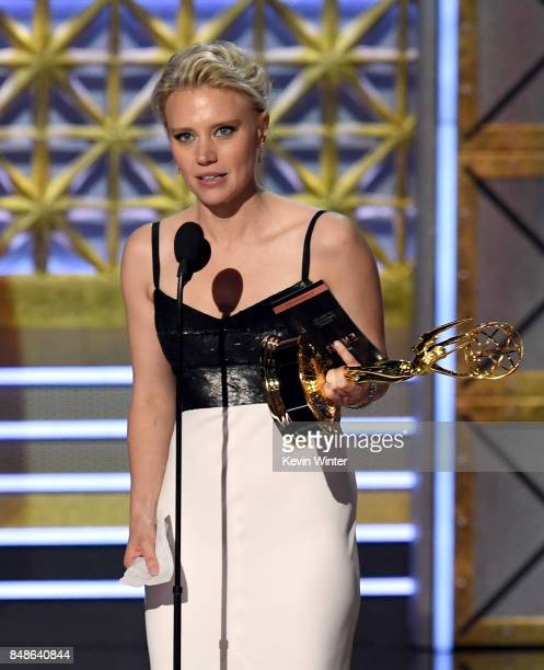 Actor Kate McKinnon accepts the Outstanding Supporting Actress in a Comedy Series award for Saturday Night Live onstage during the 69th Annual...