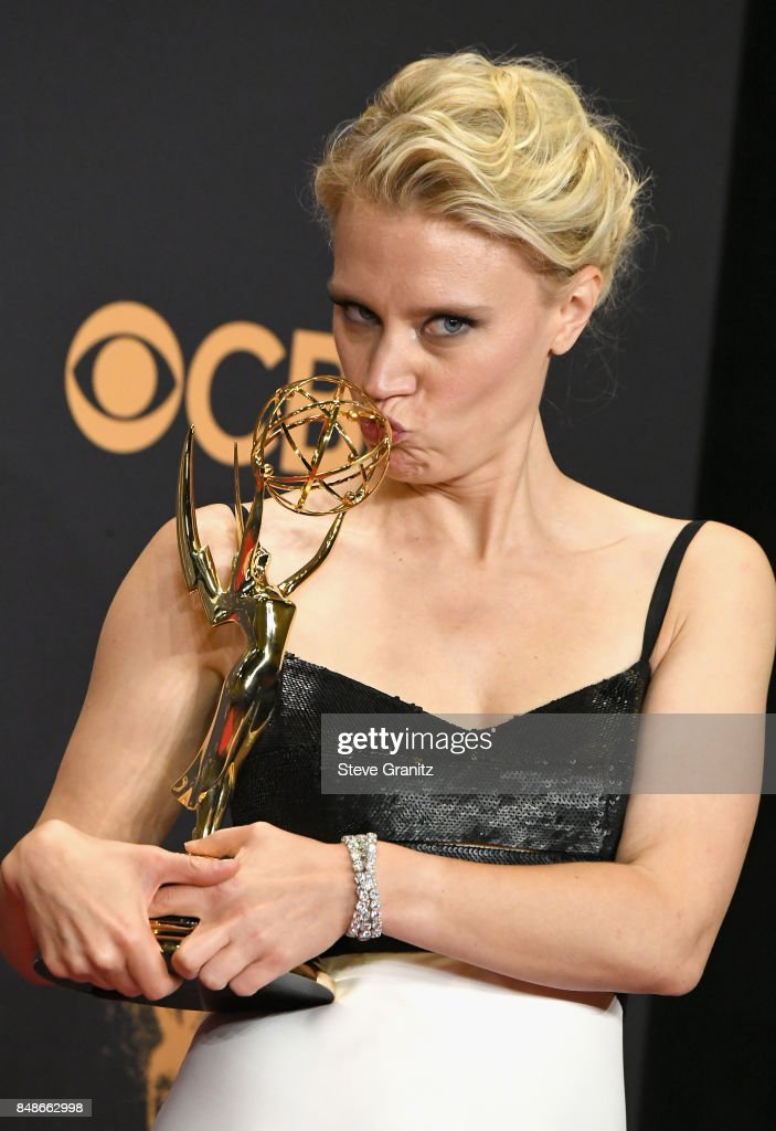 Actor Kate McKinnon, winner of the award for Outstanding Supporting Actress in a Comedy Series for 'Saturday Night Live,' poses in the press room during the 69th Annual Primetime Emmy Awards at Microsoft Theater on September 17, 2017 in Los Angeles, California.